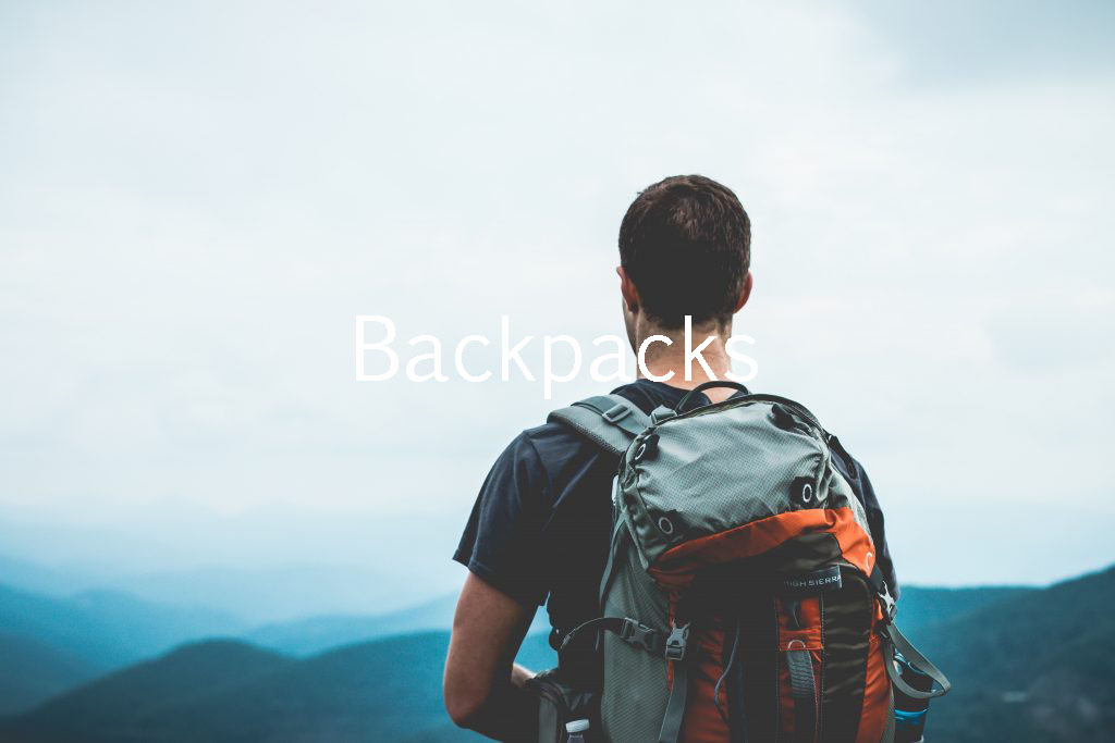 backpacks with text